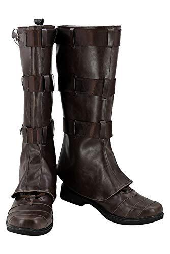 RedJade Captain America Stivali Carnevale Scarpe Cosplay Boots Uomo Signori Marrone 38.5