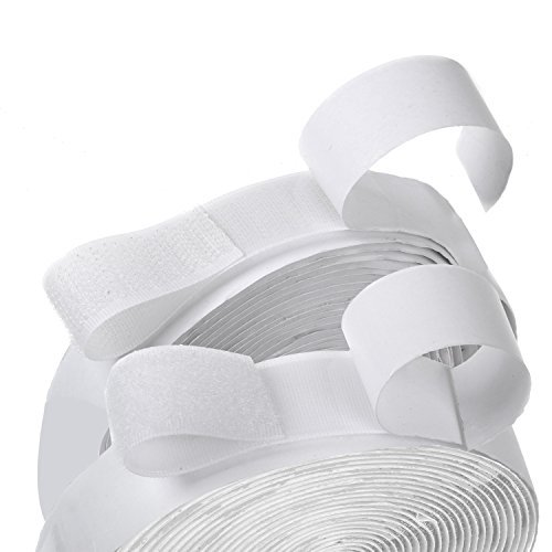 16 Feet Length 0.75 Inch Width Hook and Loop with Strong Self Adhesive Tape Strip Fastener (White)