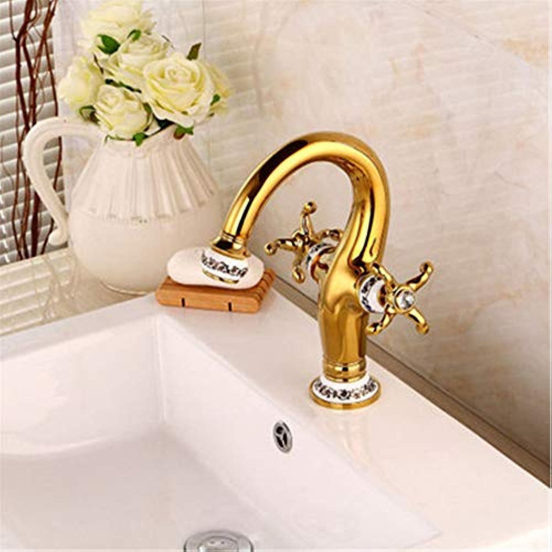 Lddpl Wasserhahn Europische Goldene Waschbecken Wasserhahn, Blau Und Wei Porzellan Mischbatterie, Retro-Kran Messing Wasserhahn, Bad Wasserhahn