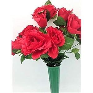 Cemetery Silk Flower Vase RED Open Rose Bouquet