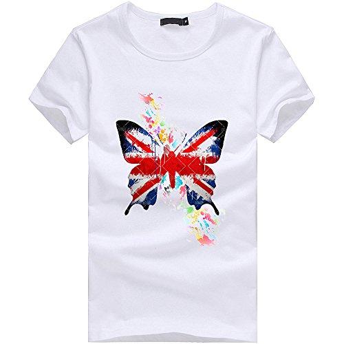 TWIFER Sommer Herren T Shirt Schmetterling Gedruckt Jungen Übergröße Tees Kurzarm Baumwolle Tee Shirts Bluse Tops
