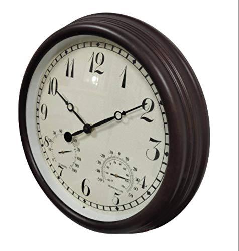 VBARV Große Außenuhr, stille, batteriebetriebene Vintage-Uhr, 15-Zoll-wasserdichte Uhr mit Luftfeuchtigkeit und Temperatur, einfach zu lesen, perfekt für den Außenbereich, Terrasse, Garage, Garten