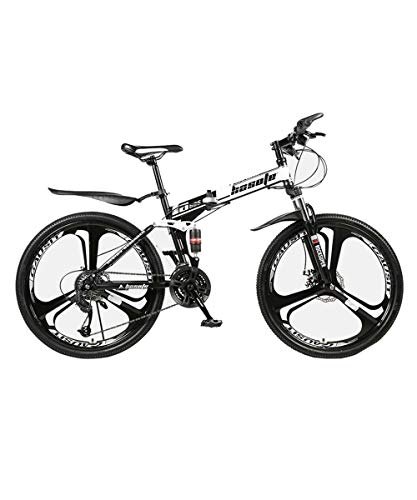 N-A HOSOTE 26 Inch Cool Three-Knife Tire Folding Mountain Bike for Men and Women, 21 Speed Mountain Bike with Double Full Suspension and Dual Disc Brakes,Carbon Steel MTB
