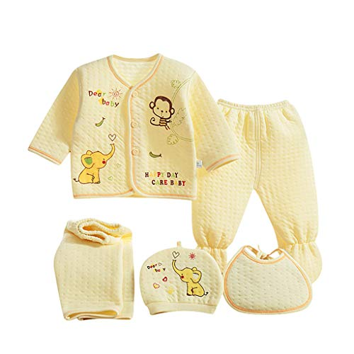 Value Pack Recién Nacido Bebé, LANSKIRT 6PCS Bebé Niña Niño Dibujos Animados Manga Larga Tops + Sombrero + Dos Pantalones + Conjunto de Traje Babero (Amarillo-03, 0-3 Meses)
