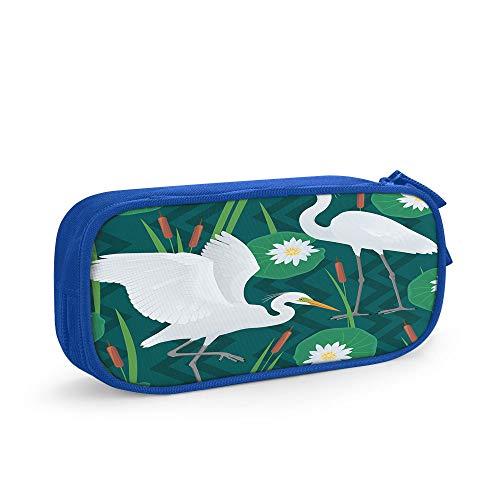Nicokee Estuche para lápices con diseño de caña de pájaro, flores florales, hojas de garza, color verde, con cremallera, para oficina, viajes, maquillaje, color azul