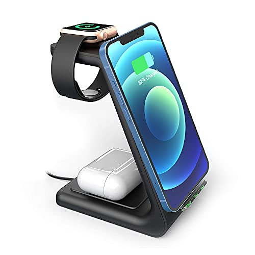 Wireless Charger Stand, GEEKERA 3 in 1 Fast Wireless Charging Station Dock for iPhone 12/12 Pro...