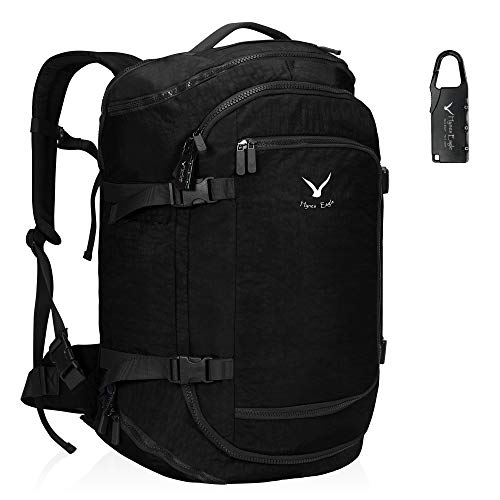 Hynes Eagle 45L Travel Backpack Flight Approved Carry on Backpack Weekender Cabin Hand Luggage Black