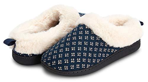 Floopi - Zapatillas de piel sintética para interior y exterior, con espuma viscoelástica (326), azul marino, 7-8