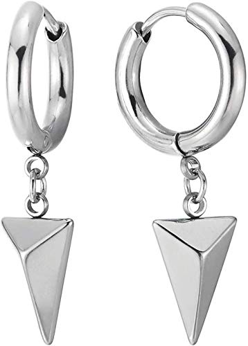 NC188 Pendientes con bisagras Huggie con pirámide Triangular Colgante para Hombre y Mujer de Acero Inoxidable 2 Piezas