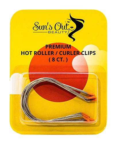 """Sun's Out Beauty Jumbo 2"""" Premium Hot Roller Clips - Curler Clips - Orange Tip (8 count)"""