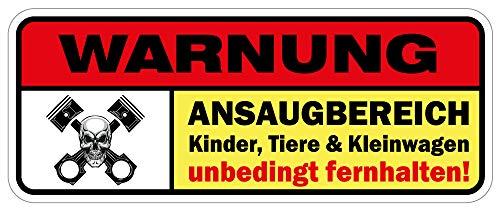 sticker-dealer Aufkleber Warnung: Ansaugbereich Kinder, Tiere & Kleinwagen unbedingt fernhalten! Autoaufklebr Fun JDM Tuning
