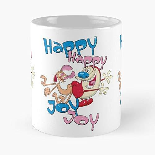 Ren Retro Cartoon Happy Joy Stimpy and Best 11 oz Kaffeebecher - Nespresso Tassen Kaffee Motive