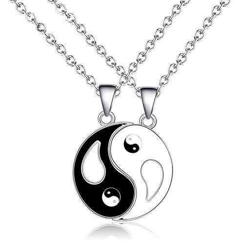 Outflower Conjunto de dos Piezas de Acero Inoxidable Tai Chi Yin y Yang Colgante Pareja Collar