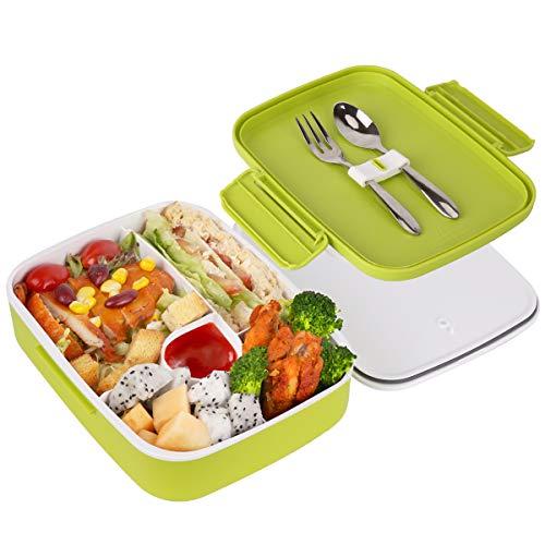 Lunchbox Kinder Erwachsene Brotdose, 5 Unterteilten Fächern Bento Box, Robust und Auslaufsicher Frühstücksbox mit Edelstahl Löffel & Gabel, Praktische Brotzeitbox für Kindergarten, Schule und Picknick