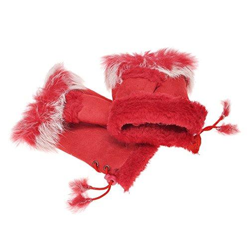 ZLYC damskie zimowe ciepłe sztuczne futro półpalca rękawiczki bez palców