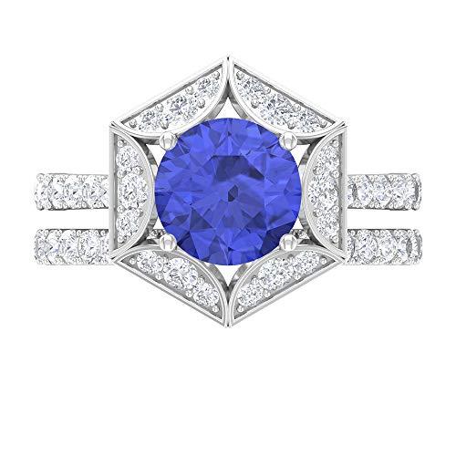 Anillo de compromiso solitario de 8 mm, anillo de boda moissanita, conjunto de anillos de boda, oro blanco de 14 quilates azul