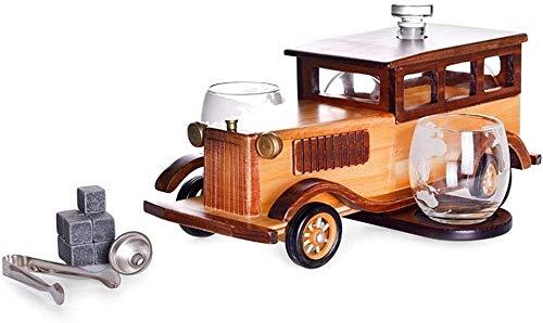 SOAR Botellero Whisky Decanter Set 1000ml con 2 Gafas Jarrafe Dispensador De Alcohol Pine Base Pour Funnel Faucet De Acero Inoxidable Whisky Stone Pweezers Regalo para Papá Marido O Novio