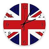 Reloj de pared moderno con decoración, bandera de Inglaterra, Gran Bretaña, Londres, relojes de pared grandes (silenciosos) para sala de estar / baño / cocina, con pilas, interior, exterior, madera, p