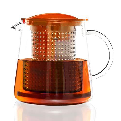 Finum TEA CONTROL Teekanne aus Glas mit Brühkontrolle - Teebereiter mit Dauerfilter - Teezubereiter 0,8 Liter - Glaskanne für Tee mit Deckel Funktion in Orange