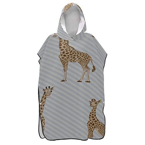 Rtosd Lange große hübsche Giraffe Poncho Strandtuch Hoodie Handtuch Surf Poncho Poncho mit Kapuze Handtücher für Jungen zum Surfen Schwimmen Baden One Size Fit All