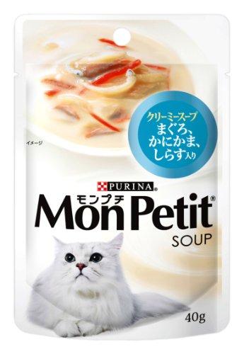 モンプチ スープ パウチ 成猫用 まぐろ、かにかま、しらす入り クリーミースープ 40g×12袋入り (まとめ買い) [キャットフード]