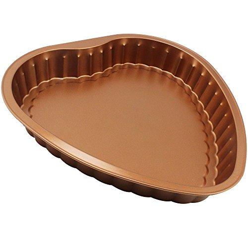 com-four® Kuchenform in Herzform zum Backen von Kuchen aus Karbonstahl (01 Stück - Backform Herz)