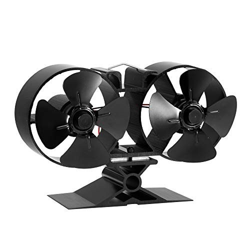 CRSURE Wood Stove Fan, 8 Blade Fireplace Fan Heat Powered - Double Motor - Thermal Fan for Wood Stove/Burner/Woodburning Stove Top, Eco Friendly Fans Specially for Large Room (Small Size)
