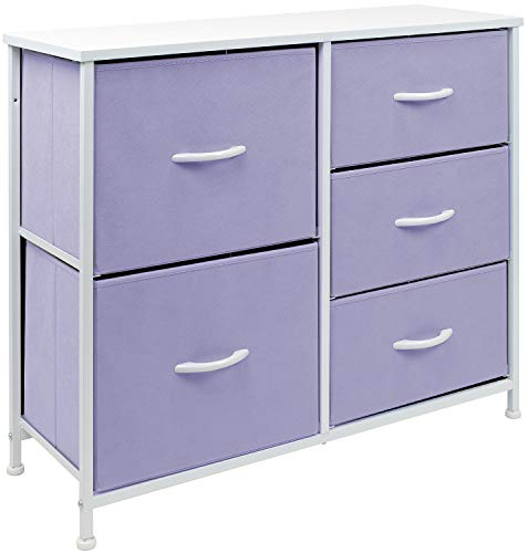 Sorbus Dresser with 5 Drawers - Bedside Furniture & Night Stand End Table Dresser for Home, Bedroom Accessories, Office, College Dorm, Steel Frame, Wood Top (Pastel Purple)