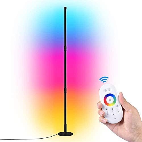 TYCOLIT LED Stehlampe Dimmbar mit Fernbedienung, 30W Stehleuchte für Wohnzimmer Schlafzimmer, Farbwechsel Lichtsaeule RGB Farbtemperaturen Ecklampe und Helligkeit Stufenlos Dimmbar Stehlampen