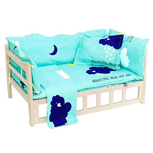 Hundebett Holz mit Abnehmbarer Matte und Kissen, Erhöhtes Langlebiges Pet Cot Lounge Sofa für Welpenkätzchen Kleintiere Verbesserter Schlaf (Color : STYLE1, Size : S(L56×W39×H40cm))