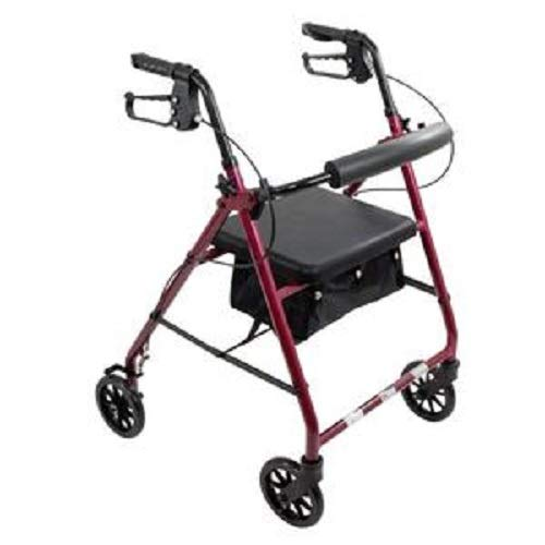 Premium Rollator Rolling Walker with Medical Curved Back Soft Seat Light Weight (Burgundy)