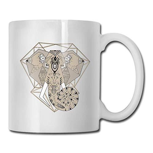 Taza de cerámica con diseño de elefante-animal de café y té
