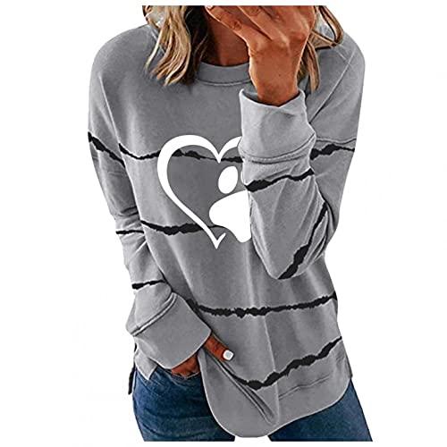 LCLrute - Jersey de mujer para invierno, manga larga, estampado urbano, cuello redondo, holgado, 01#gris, XL