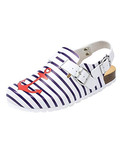 CLINIC DRESS Clog - Clogs Damen bunt weiß. Schuhe für Krankenschwestern, Ärzte oder Pflegekräfte weiß/Marine/rot, Geringelt, Anker 37