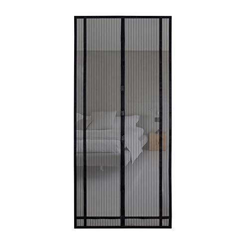 Sekey 2pcs 220 * 130 cm Cortina magnética para la protección contra insectos, ideal para puerta de balcón, puerta de sótano, puerta de terraza (se puede cortar en altura y ancho), negro