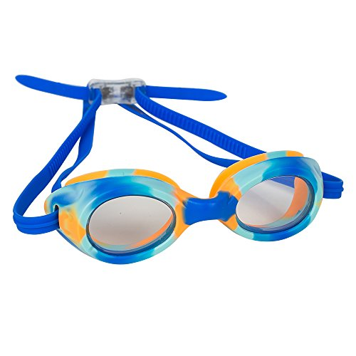 Splaqua Kids Swim Goggles for Boys and Girls - Adjustable Straps, Silicone Eye Seal, UV Protection and Anti Fog Lenses Swimming Goggle - Blue Tie Dye