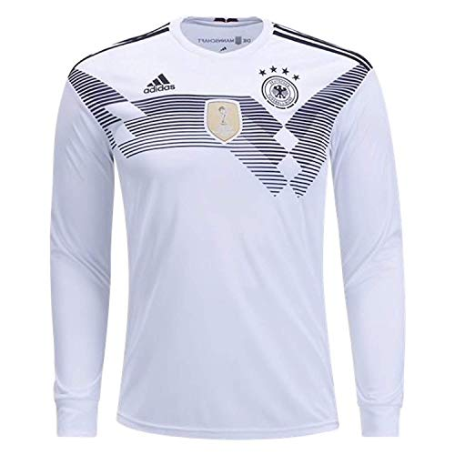 adidas Men's Soccer Germany Home Long Sleeve Jersey (S) White,Black