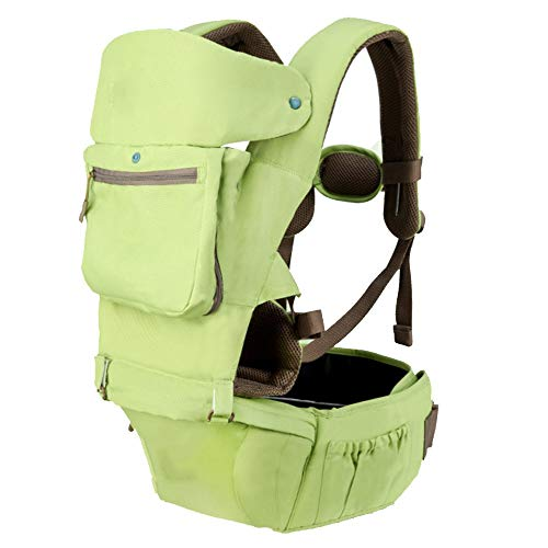 YUMEIGE Babytragen Babytragen, eingebaute Windschutzscheibe, Baby-Tragetasche, Dekompressions-Schultergurt, Bauchtrage, weiche Füllung ohne Bauchdruck (Color : Green)