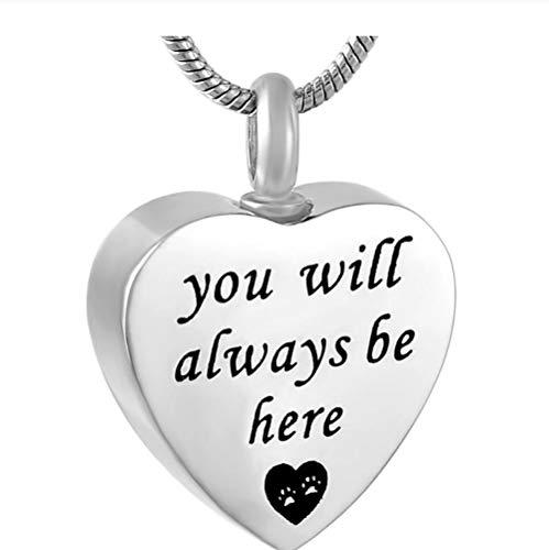 Wxcvz Colgante para Conmemorar Siempre Estarás Aquí Memorial Jewelry For Love One - Urna De Acero Inoxidable 316L Collar Colgante Recuerdo Urnas De Cremación