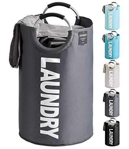 YOUDENOVA Wäschekorb Faltbar Wäschesammler Wäschesack Laundry Baskets 82L Kapazität mit Griff Grau