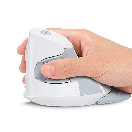 DeLux Ratón Vertical, ratón ergonómico inalámbrico, 3 PPP Ajustables (800-1200-1600 PPP), 6 Botones, reposamuñecas extraíble, ratón óptico para Ordenador portátil y PC (Blanco)