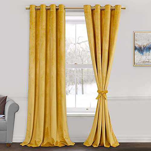 ROSETTE Velvet Curtains for Living Room - Thermal Insualted Room Darkening Grommet Window Drapes for Bedroom, Set of 2 Window Curtain Panels with Tiebacks, 52 x 96 inches, Yellow