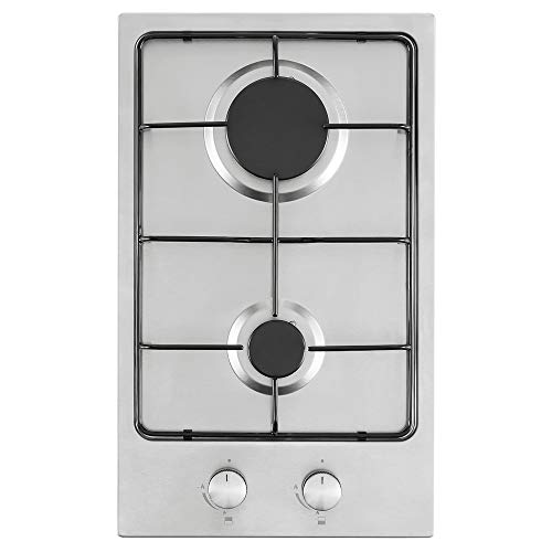 Cookology GH306SS 30cm Stainless Steel 2 Burner Gas Hob Enamel pan Supports