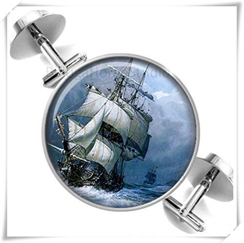 Heng Yuan Manschettenknöpfe, Motiv: altes Segelschiff im Sturm, Meeresbräutiger, kuppelförmiger Glasschmuck, Reine Handarbeit