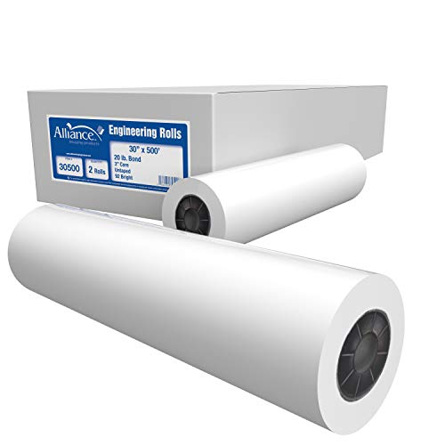 "Alliance Paper Rolls, Bond Engineering, 30"" x 500', 92 Bright, 20lb - 2 Rolls Per Carton with 3"" Core"
