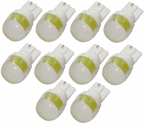 Aerzetix lampen, T10, W5W, 12 V, LED, geel, barnsteenkleuren, binnenverlichting, plafondlamp, voet, kaartlezer, kofferbak, motor, 10 stuks