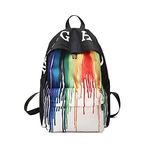 FANDARE New Backpacks Casual Graffiti Daypack High College School Bag Teens Girl Boy Knapsack Outdoor Travel Laptop Rucksack Bookbag for Women Men Waterproof Polyester Black