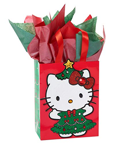 Papyrus Christmas Medium Gift Bag with Tissue Bundle, Hello Kitty (1 Bag)