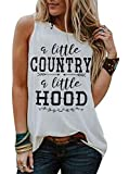 A Little Country A Little Hood Letter Print Tank Top Women Country Music Racerback Tank Top Summer Funny Saying Shirt Size L (White)