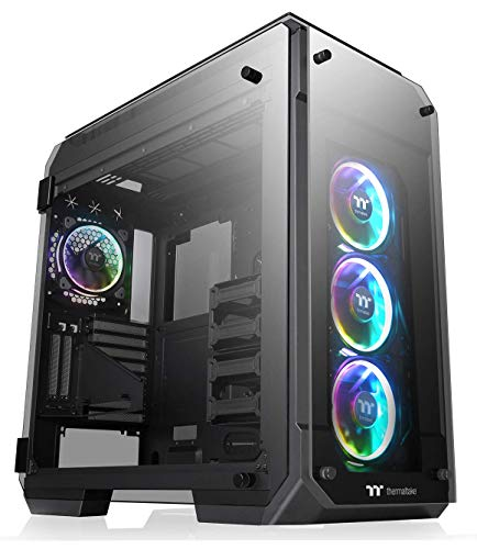 Thermaltake View 71 TG RGB Plus 4-Sided Tempered Glass Vertical GPU Modular E-ATX Full Tower Computer Case with 4 120mm Riing Plus RGB Fans Pre-Installed CA-1I7-00F1WN-02